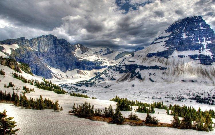 облака, горы, снег, зима, канада, банф, clouds, mountains, snow, winter, canada, banff
