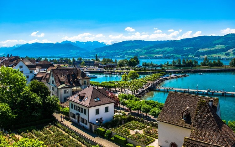 lake, mountains, shore, switzerland, home, sunny, rapperswil