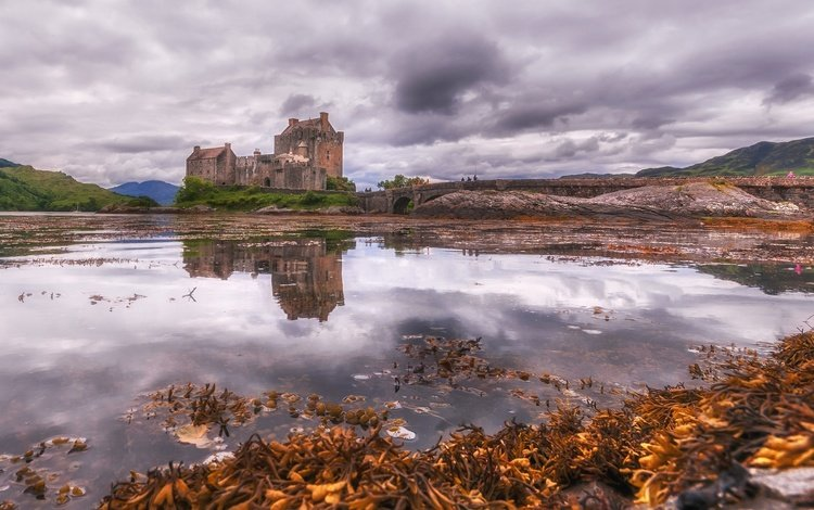 lake, reflection, scotland, the eilean donan castle