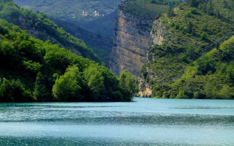 lake, rocks, france, chaudanne, castellane