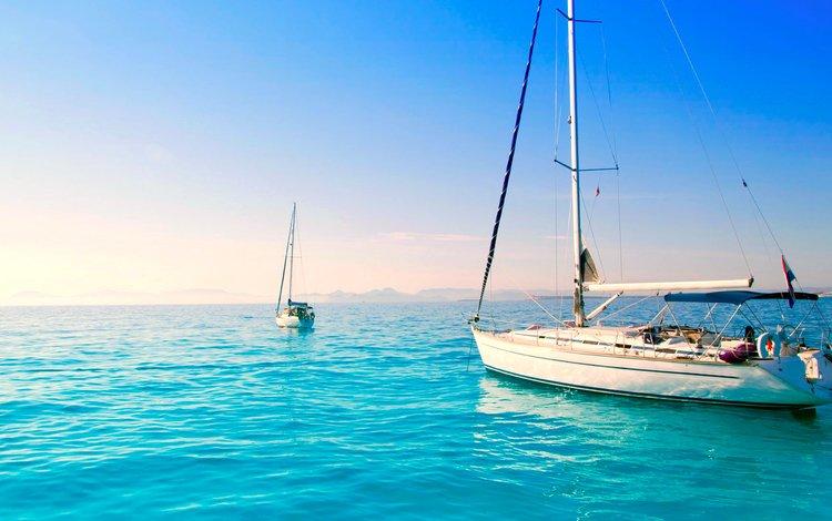 пейзаж, море, яхты, landscape, sea, yachts