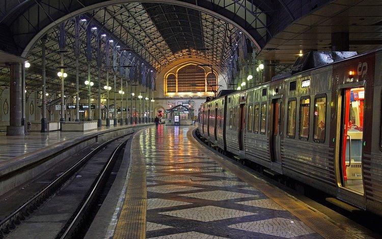 поезд, португалия, вокзал, лиссабон, росиу, train, portugal, station, lisbon, rossio