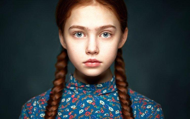 портрет, alexander vinogradov, рената, взгляд, дети, рыжая, девочка, лицо, ребенок, косы, portrait, renata, look, children, red, girl, face, child, braids