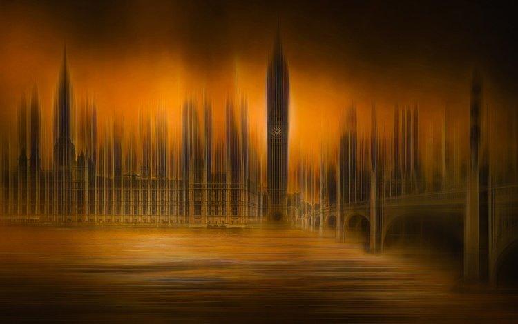 river, bridge, london, tower, england, effects, big ben, parliament