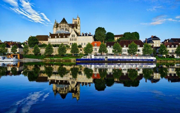 река, отражение, здания, франция, йонна, осер, river, reflection, building, france, yonne, auxerre