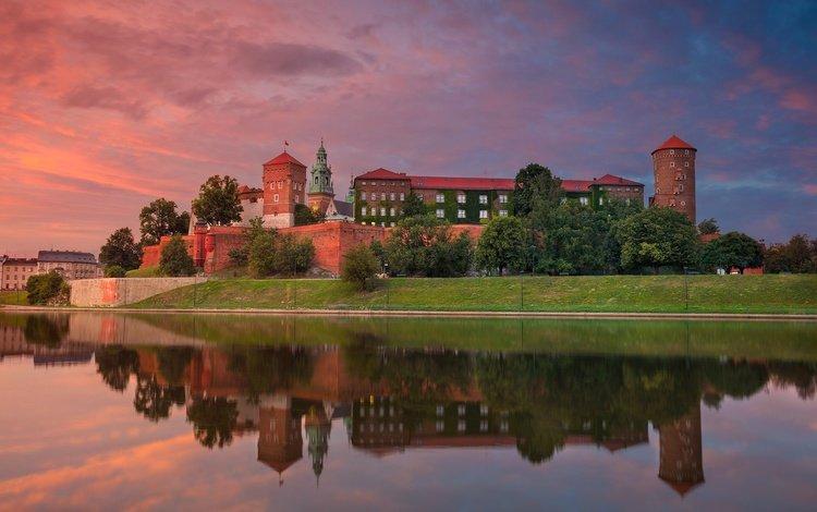 river, sunset, reflection, poland, krakow, wawel castle, vistula, wawel