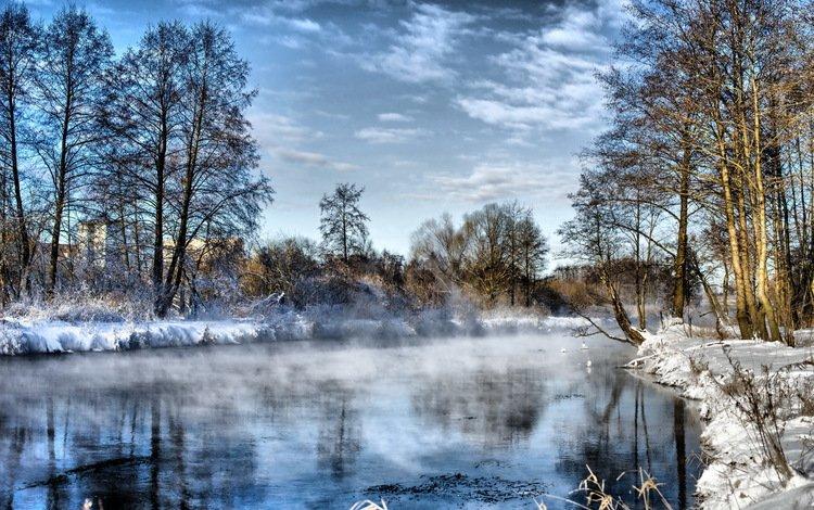 небо, облака, деревья, река, снег, зима, туман, иней, the sky, clouds, trees, river, snow, winter, fog, frost