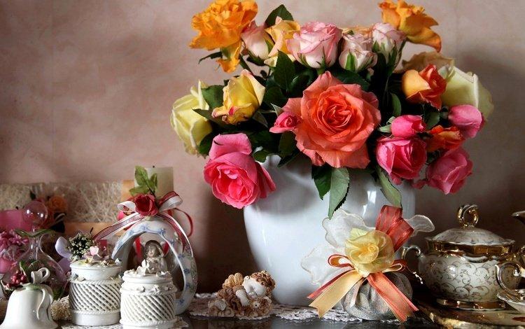 flowers, roses, bouquet, vase, still life, bow, porcelain, decor