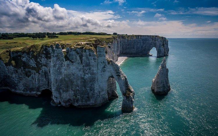 небо, облака, скалы, море, франция, арка, этрета, the sky, clouds, rocks, sea, france, arch, étretat