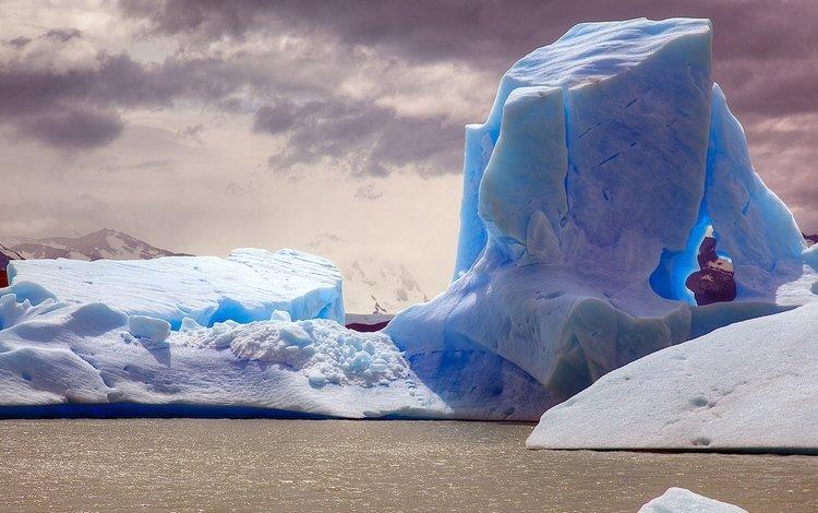 небо, облака, снег, зима, лёд, айсберг, ледник, the sky, clouds, snow, winter, ice, iceberg, glacier