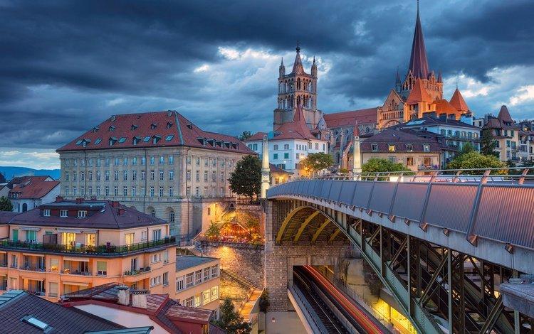 cathedral, bridge, switzerland, home, building, lausanne