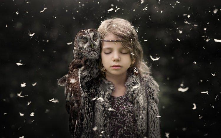 owl, background, children, girl, bird, beak, feathers, child, closed eyes