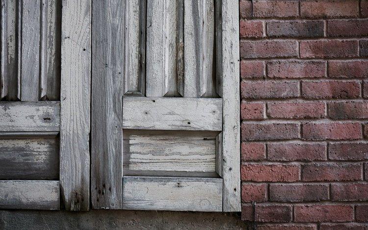 wall, board, window, bricks, shutters