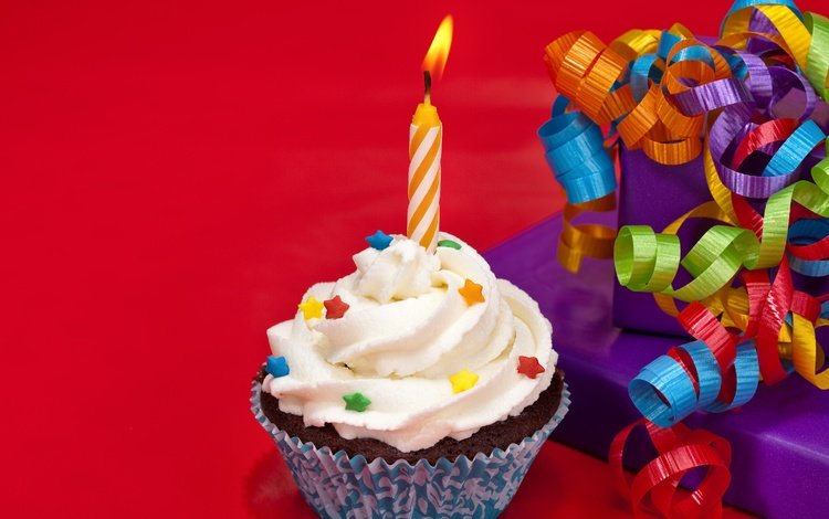 candle, birthday, red background, bow, cake, cupcake, cream