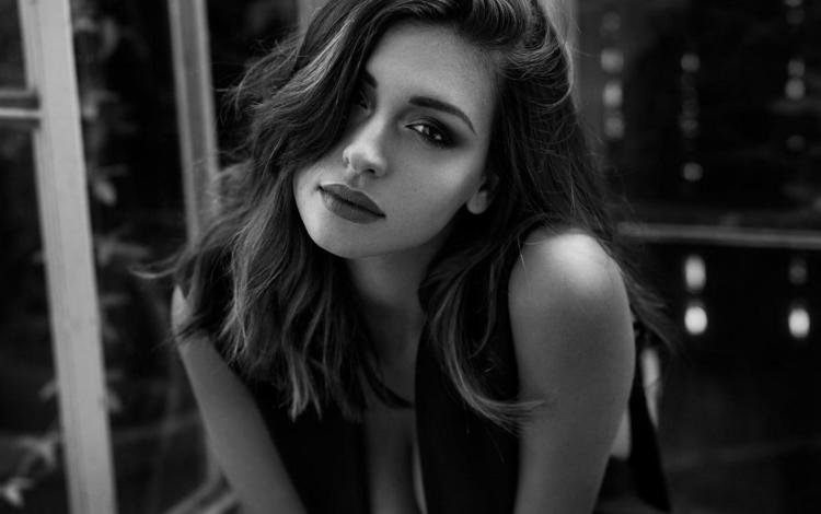 girl, portrait, look, black and white, model, lips, face, tess, peter coulson