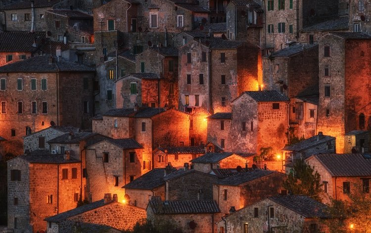 night, lights, the city, italy, tuscany, sorano