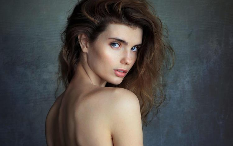 girl, portrait, look, hair, lips, face, sean archer, valeria