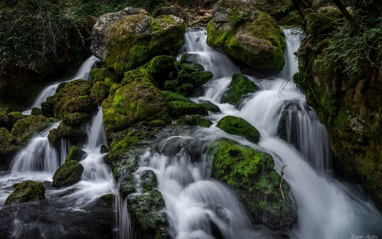 вода, камни, водопад, мох, water, stones, waterfall, moss