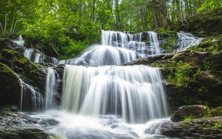 вода, камни, зелень, водопад, каскад, water, stones, greens, waterfall, cascade