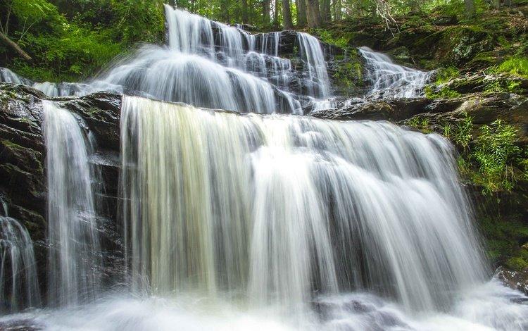вода, водопад, поток, water, waterfall, stream