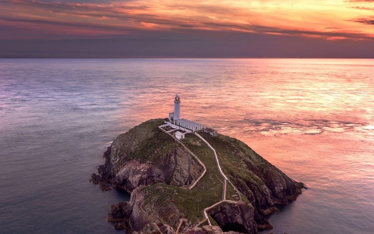 the sky, clouds, sunset, sea, rock, lighthouse, cape, wales, anglesey, south stack lighthouse