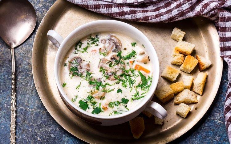зелень, грибы, суп, сухарики, крутоны, суп=пюре, сырный суп, greens, mushrooms, soup, crackers, croutons, soup=puree, cheese soup