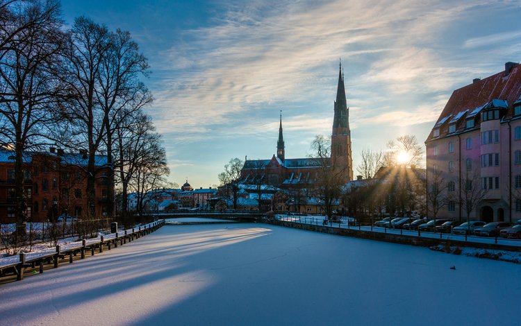 river, snow, winter, the city, sweden, stockholm, paulius malinovskis