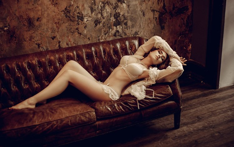 девушка, брюнетка, модель, диван, бюстгальтер, ilya novitsky, ellina myuller, girl, brunette, model, sofa, bra