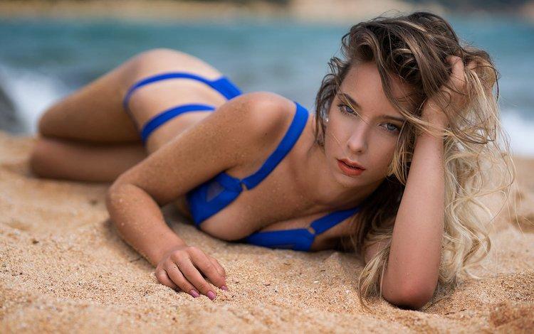 девушка, поза, блондинка, песок, пляж, модель, бикини, дэвид mas, girl, pose, blonde, sand, beach, model, bikini, david mas