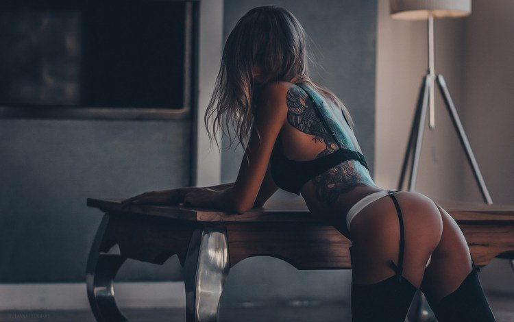 girl, panties, model, tattoo, back, stockings, hair, bra, garter