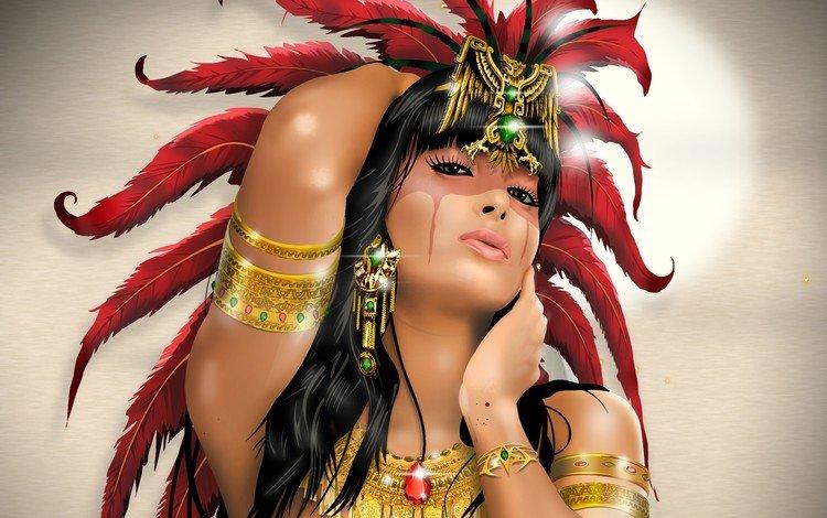 арт, перья, украшения, макияж, девушка, взгляд, фэнтези, девушки, волосы, лицо, art, feathers, decoration, makeup, girl, look, fantasy, girls, hair, face