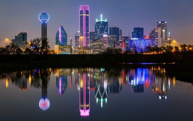 ночь, огни, город, сша, техас, даллас, night, lights, the city, usa, texas, dallas