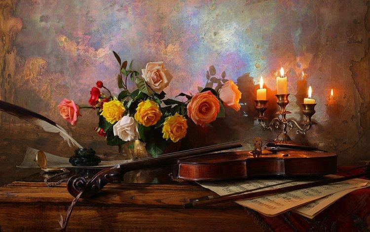 цветы, столик, свечи, натюрморт, розы, подсвечник, ноты, чернильница, скрипка, андрей морозов, букет, ваза, перо, flowers, table, candles, still life, roses, candle holder, notes, ink, violin, andrey morozov, bouquet, vase, pen