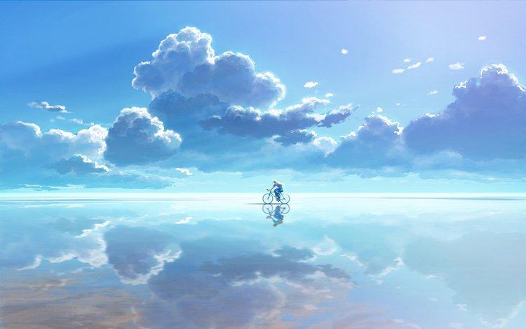 небо, облака, вода, отражение, вектор, графика, велосипедист, the sky, clouds, water, reflection, vector, graphics, cyclist