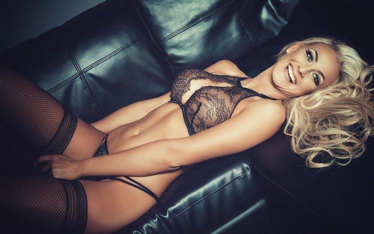 девушка, диван, поза, черное белье, блондинка, улыбка, взгляд, модель, чулки, фигура, girl, sofa, pose, black lingerie, blonde, smile, look, model, stockings, figure