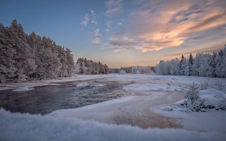 небо, облака, озеро, природа, лес, зима, пейзаж, the sky, clouds, lake, nature, forest, winter, landscape