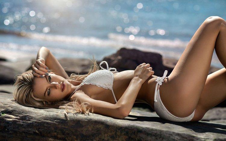 water, stones, girl, sea, blonde, beach, model, linen, bikini, bokeh