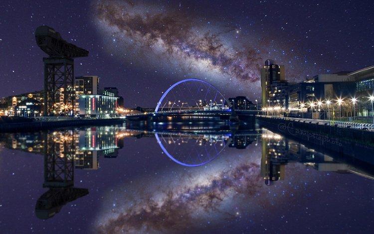 ночь, огни, отражение, звезды, мост, город, paul stewart, night, lights, reflection, stars, bridge, the city