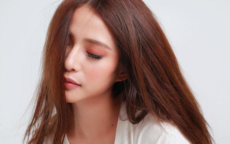 девушка, модель, губы, лицо, азиатка, длинные волосы, закрытые глаза, girl, model, lips, face, asian, long hair, closed eyes