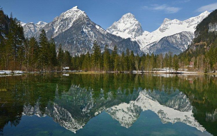 деревья, альпы, озеро, горы, природа, лес, отражение, пейзаж, австрия, trees, alps, lake, mountains, nature, forest, reflection, landscape, austria