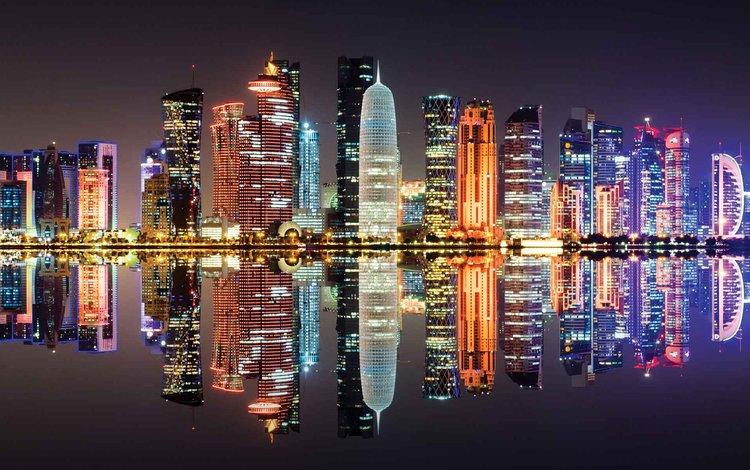 ночь, огни, отражение, город, катар, доха, night, lights, reflection, the city, qatar, doha