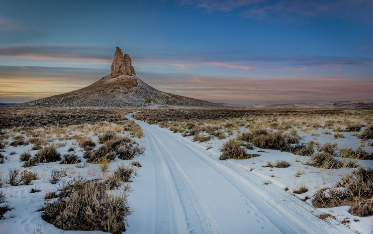 the sky, clouds, nature, winter, landscape, rock, desert, canyon