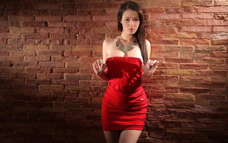 девушка, взгляд, стена, модель, волосы, лицо, красное платье, голые плечи, girl, look, wall, model, hair, face, red dress, bare shoulders