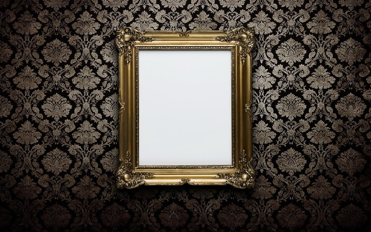обои, узор, стена, рамка, золото, wallpaper, pattern, wall, frame, gold