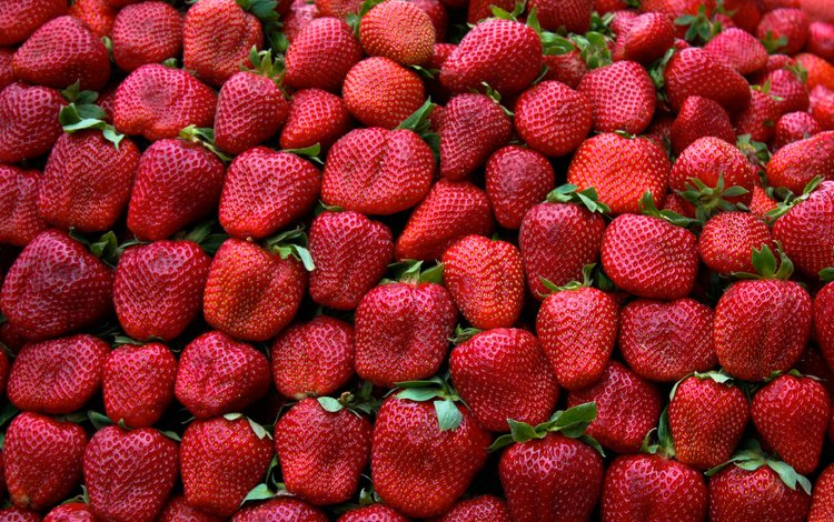strawberry, berries, leaves