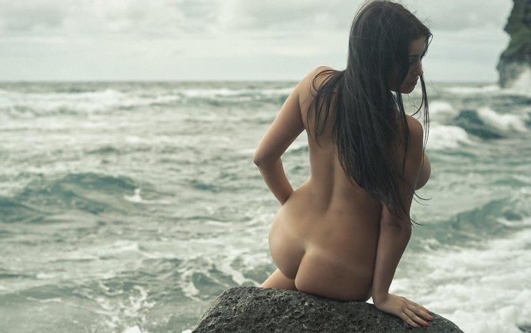 девушка, попа, модель, сидит, камень, girl, ass, model, sitting, stone