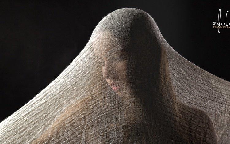 девушка, фон, взгляд, модель, ткань, лицо, girl, background, look, model, fabric, face