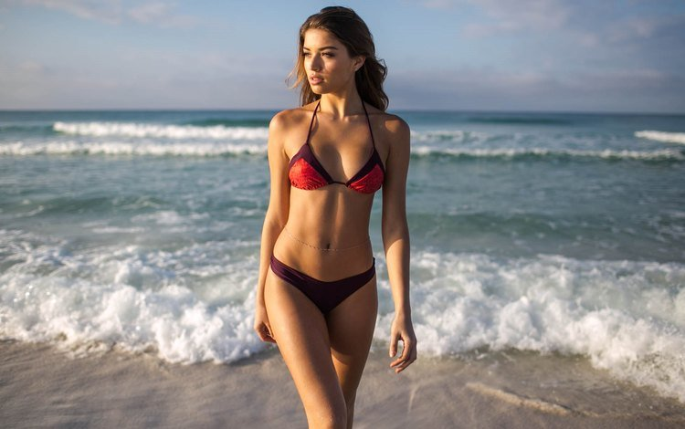 girl, beach, model, brown hair, lopez, daniela lopez osorio