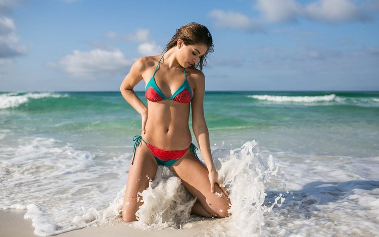 girl, sea, pose, sand, beach, model, bikini, brown hair, daniela lopez osorio