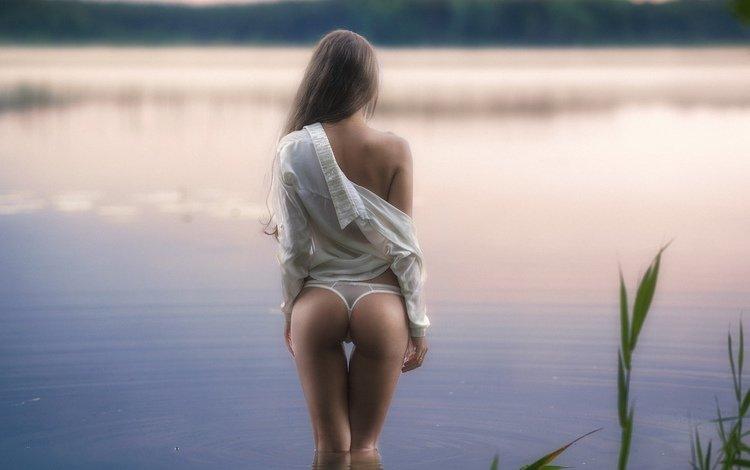 water, river, girl, morning, beach, ass, in lingerie